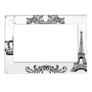Vintage Black White Paris Amour Eiffel Tower Magnetic Picture Frame