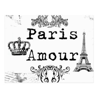 Vintage Black White Paris Amour Eiffel Tower Postcard