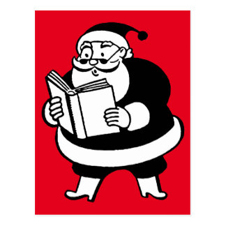 Vintage Black & White Reading Santa On Red Postcard