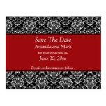 Vintage Black White Red Damask Save The Date Postcard