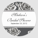 Vintage Black White Rose Bridal Shower Sticker