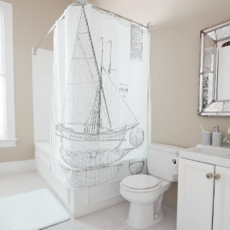 Vintage black & white sailboat drawing antique nau shower curtain