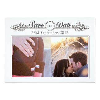 Vintage Black & White Save the Date Announcement