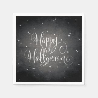 Vintage Black + White Stars Gothic Happy Halloween Disposable Serviette