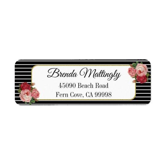 Vintage Black White Striped Roses Return Address