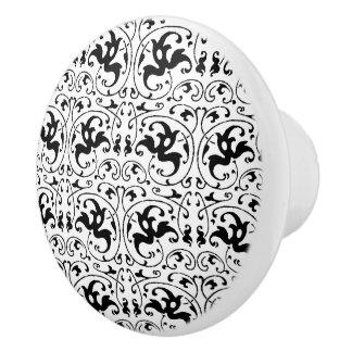 Vintage Black White Swirl Ceramic Knob