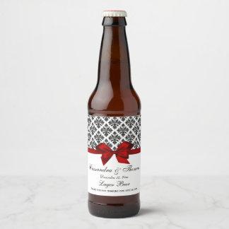 Vintage Black Wht Damask Red H Beer Bottle Label