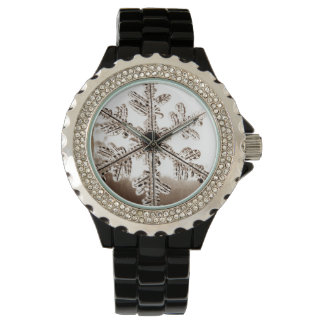 Vintage Black Winter Snowflake Watch