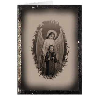 Vintage Blank Holy Card of the Guardian Angel