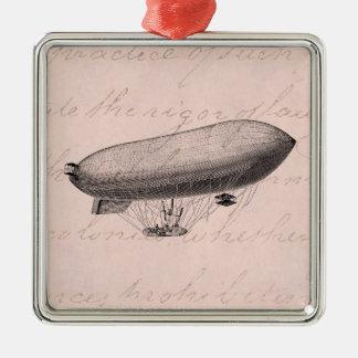 Vintage Blimp Old Zeppelin Retro Hot Air Balloon Christmas Ornament