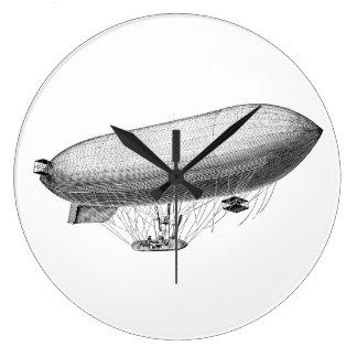 Vintage Blimp Old Zeppelin Retro Hot Air Balloon Large Clock
