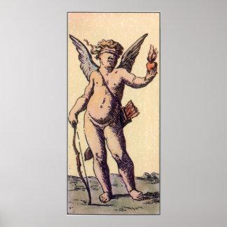 Vintage Blindfolded Cupid, Valentines Tarot Card Poster