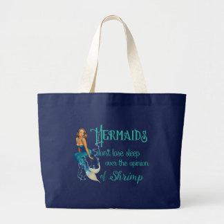 Vintage Blonde Pinup Mermaid in Diamonds Quote Large Tote Bag