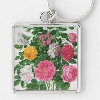 Vintage Blooming Flowers, Spring Garden Roses Key Ring