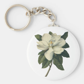 Vintage Blooming White Magnolia Blossom Flowers Basic Round Button Key Ring