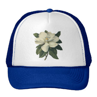 Vintage Blooming White Magnolia Blossom Flowers Cap