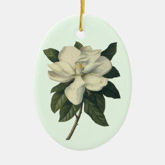 Vintage Blooming White Magnolia Blossom Flowers Ceramic Oval Decoration