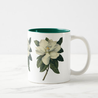 Vintage Blooming White Magnolia Blossom Flowers Two-Tone Coffee Mug