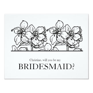 """Vintage Bloosoms   """"Will you be my bridesmaid"""" Card"""