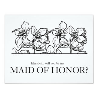 """Vintage Bloosoms   """"Will you be my maid of honor"""" Card"""