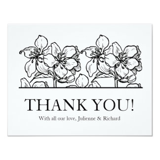 Vintage Blossoms | Black and White Thank You Card 11 Cm X 14 Cm Invitation Card