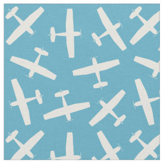 Vintage Blue Aircraft Pattern Fabric
