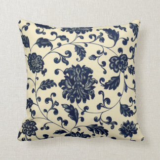Vintage Blue and Cream Floral Pattern Throw Pillow