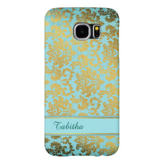 Vintage Blue and Gold Damask Samsung S6 Case Samsung Galaxy S6 Cases