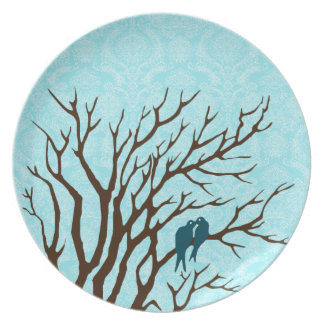 Vintage Blue and Green Peacock Blue Gray Damask Plates