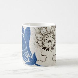 Vintage Blue and Stippled Floral Pattern  | Mugs