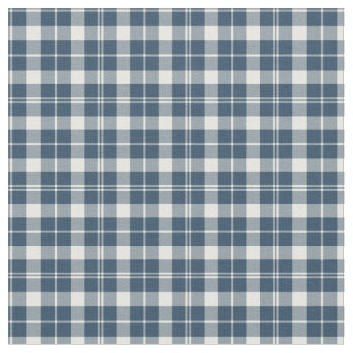 Vintage Blue and White Chequered Plaid Fabric