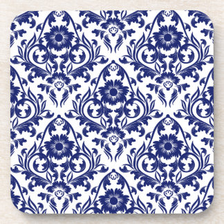 Vintage Blue And White Damask Floral Coaster Set