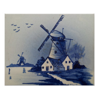 Vintage Blue and White Delft Print