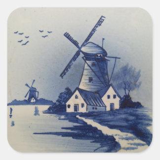 Vintage Blue and White Delft Square Sticker