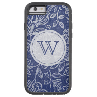 Vintage Blue and White Floral Monogrammed Tough Xtreme iPhone 6 Case