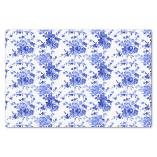 """Vintage Blue and White Floral Pattern 10"""" X 15"""" Tissue Paper"""
