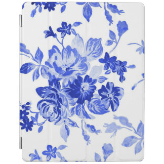 Vintage Blue and White Floral Pattern iPad Cover