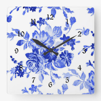 Vintage Blue and White Floral Pattern Wall Clock