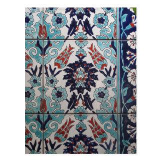 Vintage Blue and White Ottoman tile design Postcard