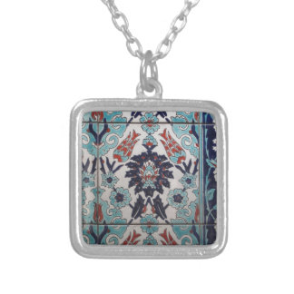 Vintage Blue and White Ottoman tile design Silver Plated Necklace