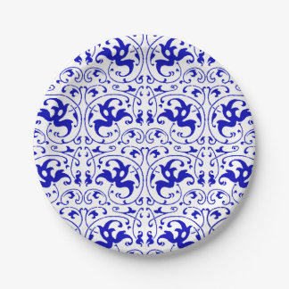 Vintage Blue and White Swirl 7 Inch Paper Plate