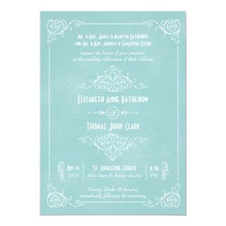 Vintage Blue Art Deco Wedding Invitations
