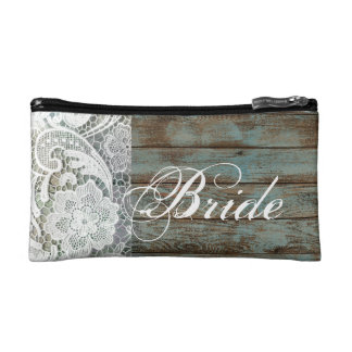 vintage blue barn wood lace country bride cosmetic bag