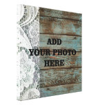 vintage blue barn wood lace country wedding stretched canvas print