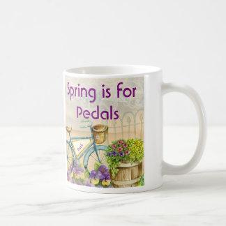 Vintage Blue Bike Petunias and Pansies Coffee Mug