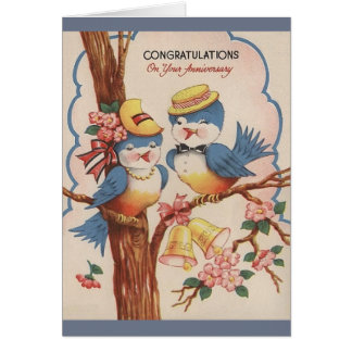 Vintage Blue Bird Anniversary Greeting Card