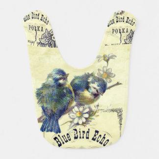 Vintage Blue Bird Birdcage Collage Bib