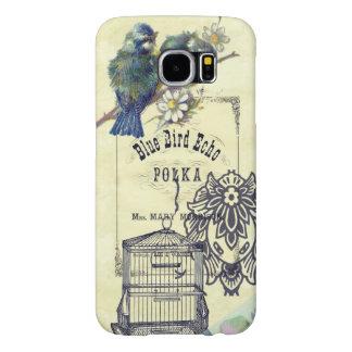 Vintage Blue Bird Birdcage Collage Samsung Galaxy S6 Cases