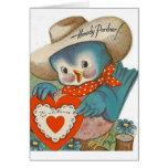 Vintage Blue Bird Cowboy Valentine's Day Card
