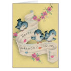 Vintage Blue Bird Music Birthday Greeting Card